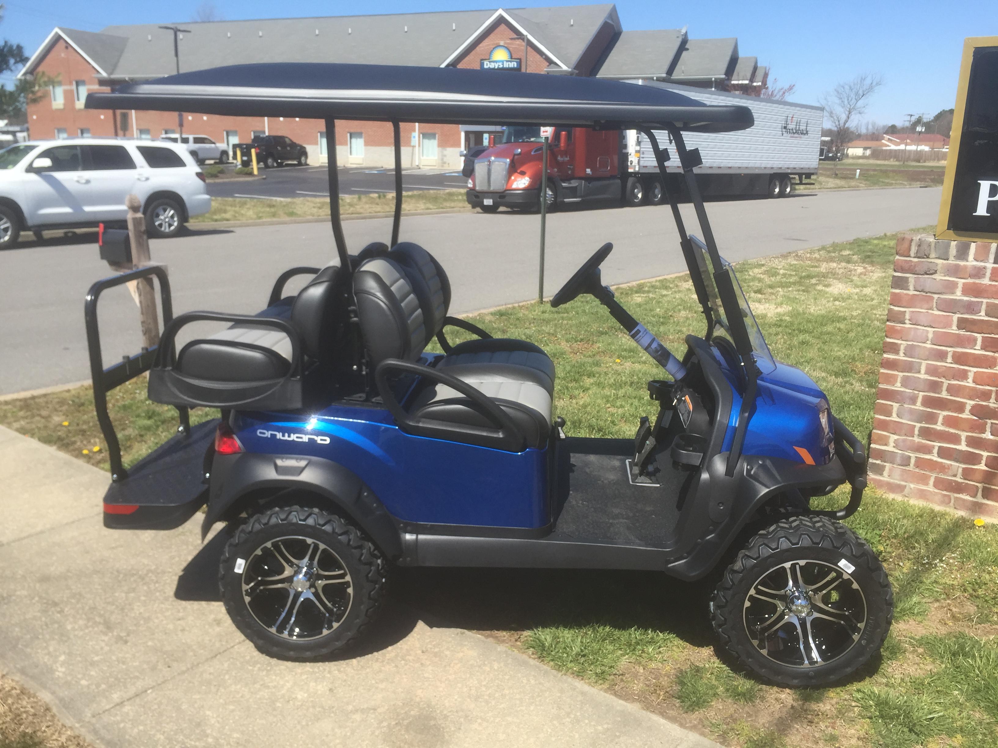 Extended Rear Facing >> 2019 Club Car Onward Lifted Gas Golf Car- Pearl Blue ...